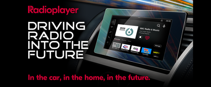 Image of car dashboard with text: Driving Radio Into the Future